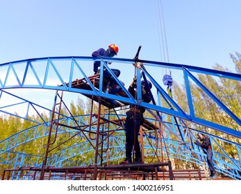 This photo about  installation work structure of the building Construction . location Map Ta Phut in Thailand April 10, 2019.