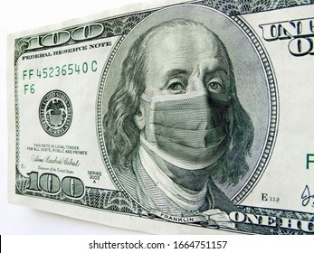 This photo illustration of Ben Franklin wearing a healthcare surgical mask on a one hundred dollar bill illustrates the many problems of the   Coronavirus, including medical, travel  and economic.