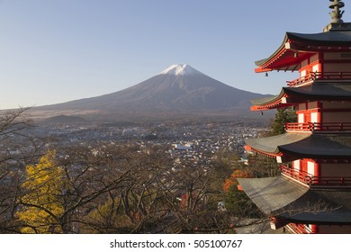 This photo was shot from the area around Mt.Fuji in Autumn. It is time to start snow cap on the top of Mt.Fuji. Chureito pagoda in one of the most famous to visit. Focus at Mt.Fuji.