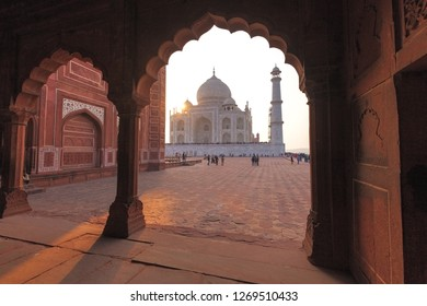 This photo was shot from Taj Mahal, India.It is an ivory white marble mausoleum on the south bank of the Yamuna river in the Indian city of Agra.