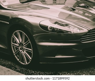 This photo was taken in Central London / United Kingdom - November 2nd, 2013: Luxury, exotic Aston Martin DBS sports car