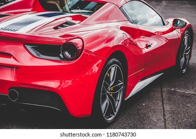This photo was taken at the 'Classic Sports Car Club' in Donnington, Leicestershire / United Kingdom - September 15th, 2018: Modern, red Ferrari 488 Spider super car