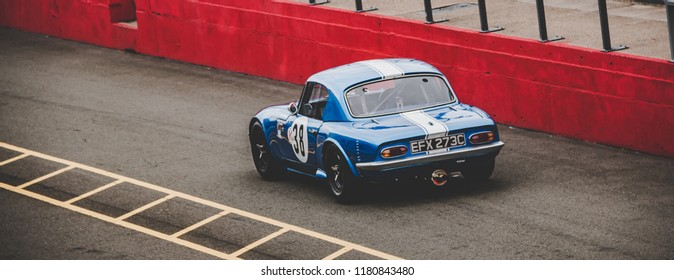 This photo was taken at the 'Classic Sports Car Club' in Donnington, Leicestershire / United Kingdom - September 15th, 2018: Lotus Elan racing car
