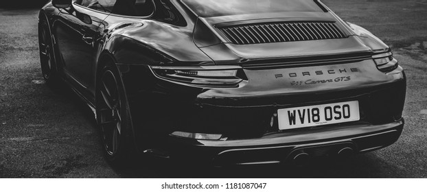 This photo was taken at the 'Classic Sports Car Club' in Donnington, Leicestershire / United Kingdom - September 15th, 2018: Modern, high performance Porsche 911 GTS sports car