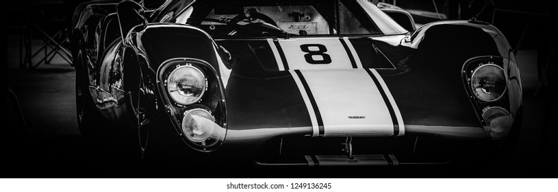 This photo was taken at the 'Classic Sports Car Club' in Donnington, Leicestershire / United Kingdom - September 15th, 2018: The front of a vintage Le Mans Lola T70 racing car.