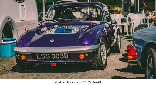 This photo was taken at Croft, North Yorkshire / United Kingdom - August 8th, 2015: Purple vintage Lotus Elan racing car