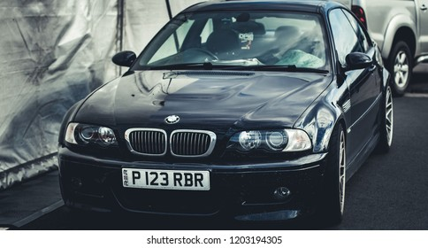 This photo was taken in Donington, Leicestershire / United Kingdom - October, 13th 2018: A retro BMW M3 E46 sports car