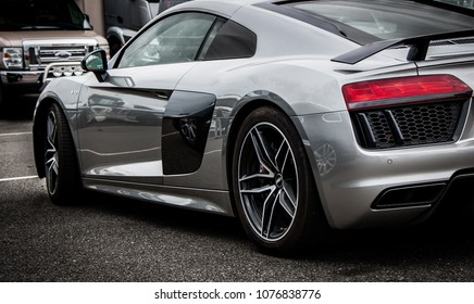 This photo was taken in Donnington, Leicestershire / United Kingdom - April 22, 2018: An Audi R8 in silver.