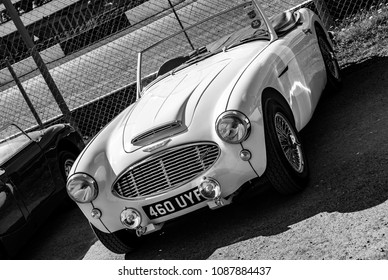 This photo was taken in Donnington, Leicestershire / United Kingdom - May 5, 2018: A vintage Austin Healey sports car.