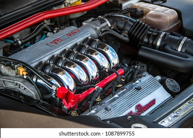 This photo was taken in Donnington, Leicestershire / United Kingdom - May 5, 2018: An Alfa Romeo V6 engine.