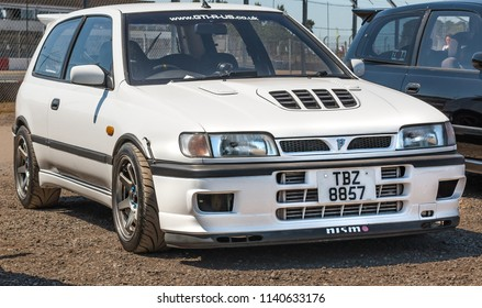 This photo was taken in Donnington, Leicestershire / United Kingdom - June 25, 2018: A modified Japanese, compact sports car (Nissan Pulsar GTi-R).