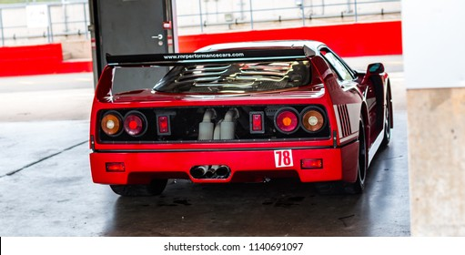 This photo was taken in Donnington, Leicestershire / United Kingdom - June 23, 2018: A retro, Italian racing car (Ferrari F40).