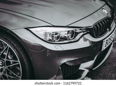 This photo was taken in Donnington, Leicestershire / United Kingdom - June 25th, 2018: Modern BMW M3 Competition Package