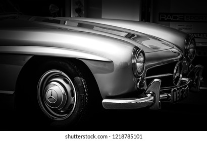 This photo was taken in Donnington, Leicestershire / United Kingdom - May 5, 2018: The front vintage Mercedes-Benz SL 300 sports car
