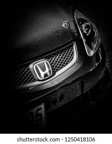 This photo was taken in Donnington, Leicestershire / United Kingdom - June 24, 2018: The front of a retro Honda Civic Type R hatchback car.