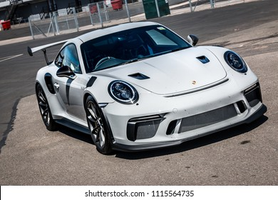 This photo was taken in Donnington Park, Leicestershire / United Kingdom - June 17, 2018: A Porsche 911 GT3 RS (991.2).