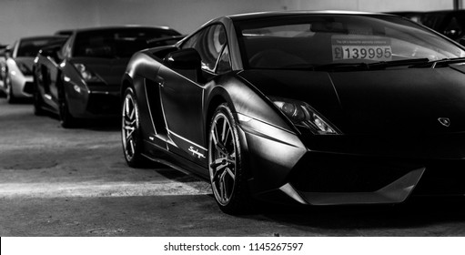 This photo was taken in Keighley,  West Yorkshire / United Kingdom - January, 6th 2018: An Italian, luxury super car (Lamborghini Gallardo Edizione Tecnica).