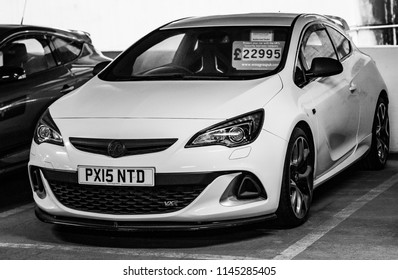 This photo was taken in Keighley,  West Yorkshire / United Kingdom - January, 6th 2018: A modern hot hatchback car (Vauxhall Astra VXR).