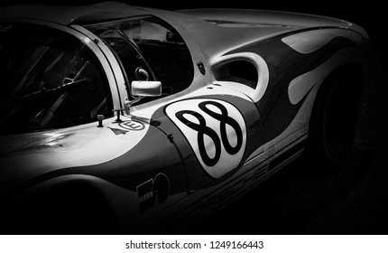 This photo was taken in Le Mans / France - July 7th, 2018 at Le Mans Classic: The side of a classic Le Mans Porsche 910 racing car.
