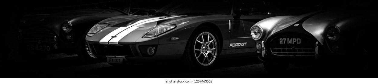 This photo was taken in Le Mans / France - July 7th, 2018 at Le Mans Classic: The front of a modern Ford GT super car.
