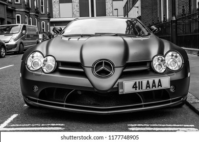 This photo was taken in Mayfair, London / United Kingdom - July 23rd, 2015: Mercedes-Benz Mclaren SLR super car