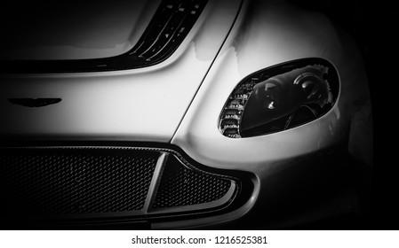 This photo was taken in Mayfair, London / United Kingdom - October 31st, 2015: Aston Martin GT12 headlight