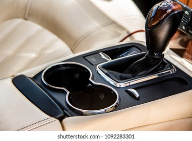 This photo was taken in Nottingham, Nottinghamshire / United Kingdom - May 13, 2018: The interior of a 2007 Maserati Quattroporte.