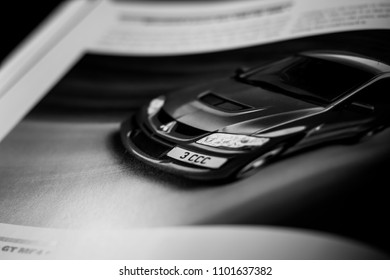 This photo was taken in Nottingham, Nottinghamshire / United Kingdom - May 30, 2018: A closeup image of an automotive book.
