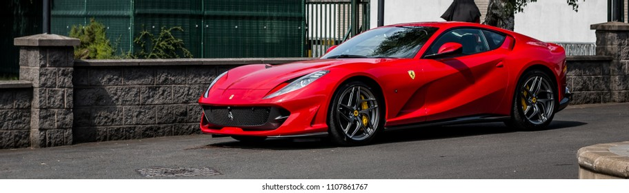 This photo was taken in Nottingham, Nottinghamshire / United Kingdom - June 7, 2018: A red Ferrari 812 Superfast.