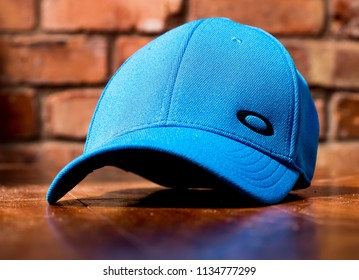 This photo was taken in Nottingham, Nottinghamshire / United Kingdom - July, 15th 2018: Blue Oakley baseball cap.