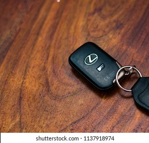 This photo was taken in Nottingham, Nottinghamshire / United Kingdom - July, 17th 2018: A Lexus IS-F car key.
