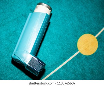 This photo was taken in Nottingham, Nottinghamshire / United Kingdom - September, 19th 2018: A blue Ventolin inhaler