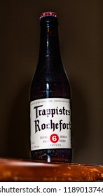 This photo was taken in Nottingham, Nottinghamshire / United Kingdom - September, 26th 2018: A glass bottle of Trappistes Rochefort  beer