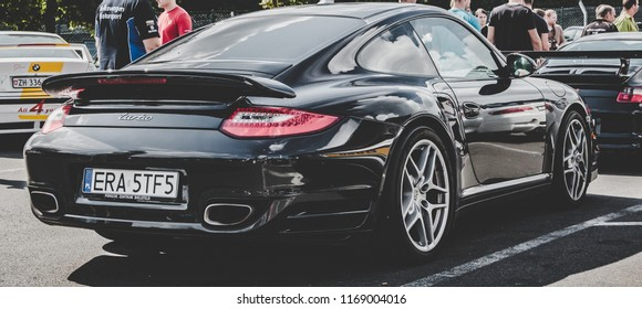 This photo was taken in Nurburgring / Germany - August, 3rd 2014: Porsche 911 Turbo sports car