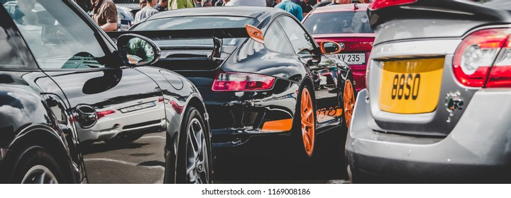 This photo was taken in Nurburgring / Germany - August, 3rd 2014: Porsche 911 GT3 RS (997.1) sports car