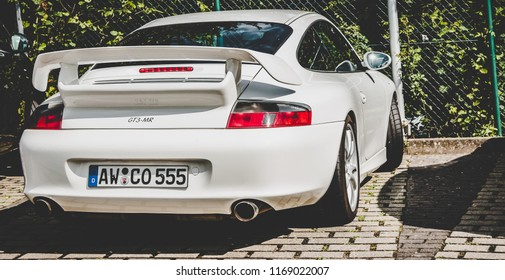 This photo was taken in Nurburgring / Germany - August, 3rd 2014: Porsche 911 GT3 sports car
