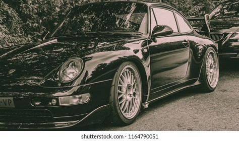 This photo was taken at the Nurburgring  , Nurburg / Germany - August 3rd, 2014: Modified Porsche 911 track-day car