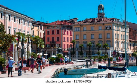 This photo was taken in Salo, Lake Garda / Italy - August, 28th 2018: The historic Salo town centre