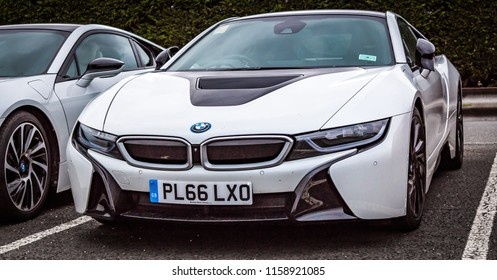 This photo was taken in Silverstone, Northamptonshire / United Kingdom - August 18th, 2018: A modern BMW i8 sports car