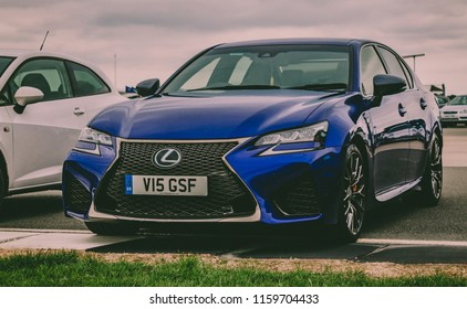 This photo was taken in Silverstone, Northamptonshire / United Kingdom - August 18th, 2018: Lexus GS-F sports car