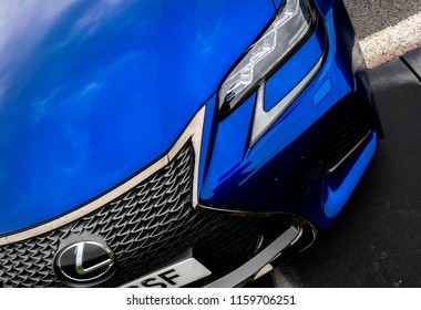 This photo was taken in Silverstone, Northamptonshire / United Kingdom - August 18th, 2018: The front grille of a modern Lexus car