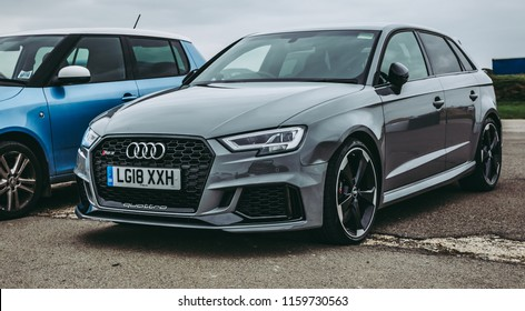 This photo was taken in Silverstone, Northamptonshire / United Kingdom - August 18th, 2018: Audi RS3 sports car