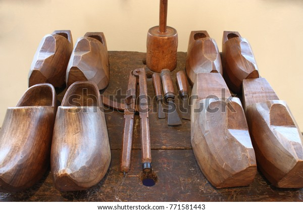 This Photo Wooden Shoes Equipments Tools Stock Photo Edit Now
