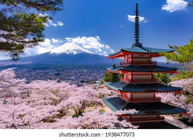 This is the photograph of Mt.Fuji and Sakura and Chureito in Yamanashi prefecture, Japan. Image suitable for backgrounds, calendar,  poster, or promotional materials.