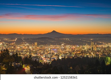 This is a photograph of Portland downtown and Mt Hood at dawn.