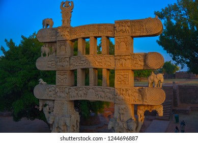 This pic is captured in the evening at sunset in a very famous historical building named Sanchi Stupa built by emperor Ashoka situated at Sanchi near to Bhopal city Madhya Pradesh India