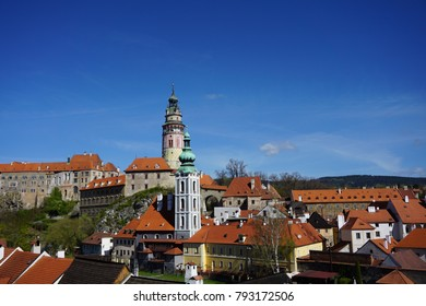 This is a picture looking down on the town of Cesky Krumlov.