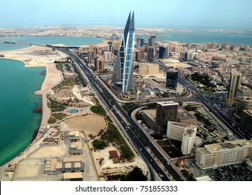 This picture of the Manama skyline in Bahrain, taken in 2010, shows the vast expanse of the sea that has now given way to the modern Bahrain Bay development