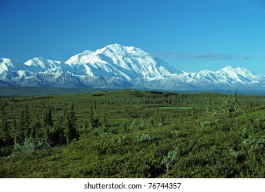 This picture of Mt McKinley is taken from Wonder lake on a very clear day