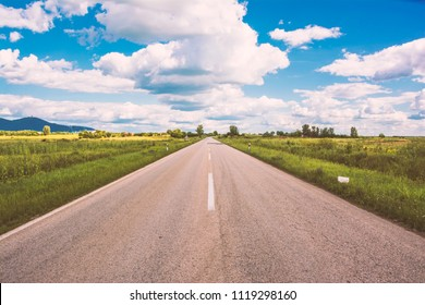 This is a picture of open road near city of Vrsac Serbia
